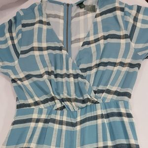NWT Wild Fable Blue Plaid Wide Leg Crop Romper